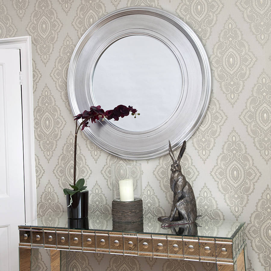black silver round mirror by decorative mirrors online. Black Bedroom Furniture Sets. Home Design Ideas
