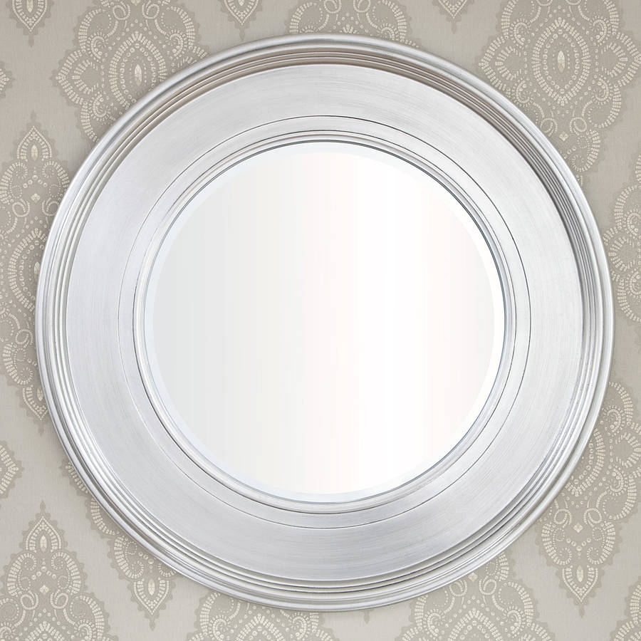 Black silver round mirror by decorative mirrors online Round framed mirror