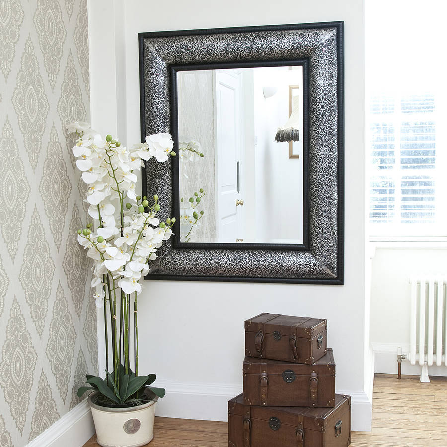 antique silver embossed mirror by decorative mirrors online | notonthehighstreet.com