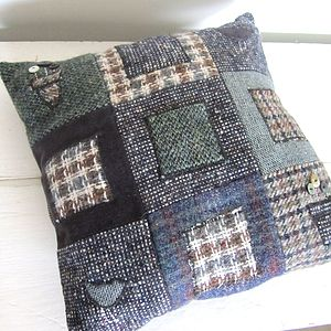 Lily Button Tweed Cushion: Squares - living room