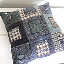 Lily Button Tweed Cushion: Squares
