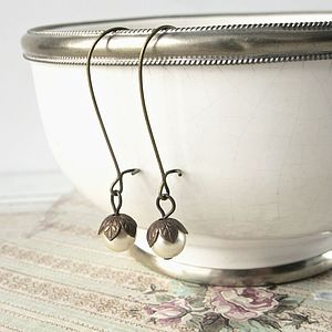 Vintage Style Petal Cap And Pearl Earrings - earrings