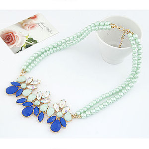 Rhinestone Flower Statement Necklace - statement necklaces