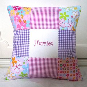 Funky Embroidered Name Cushion - living room