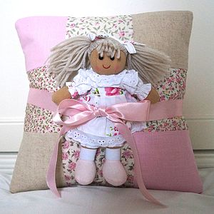 Pink Name Cushion And Rag Doll Gift Set - cushions