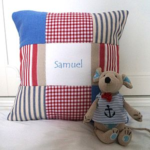 Blue Name Cushion And Toy Mouse Gift Set - soft toys & dolls