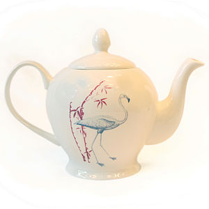 Fine Bone China Flamingo, Parrot Tea Pot - on trend: tropical