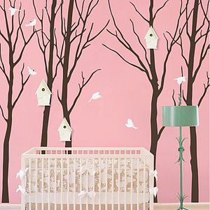 Woodland Trees With Birds Flying Wall Sticker