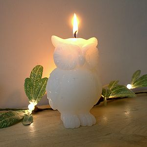White Owl Candle - christmas home accessories