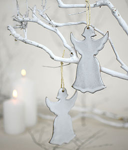 Ceramic Christmas Angel Tree Decoration - tree decorations