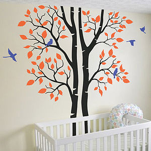 Trees With Birds Wall Decal - office & study