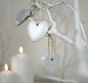 Ceramic Heart Christmas Tree Decoration