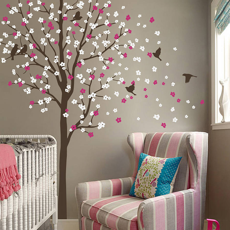 Wind swept tree with birds wall sticker by wall art for Stickers para pared de dormitorio