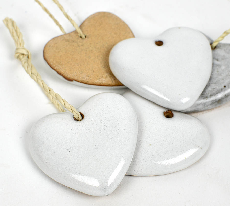 ceramic heart christmas tree decoration - Ceramic Christmas Decorations