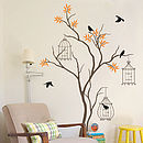 Tree With Birds And Birdcage Wall Decal