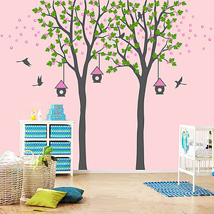 Twin Trees With Birdhouses - personalised