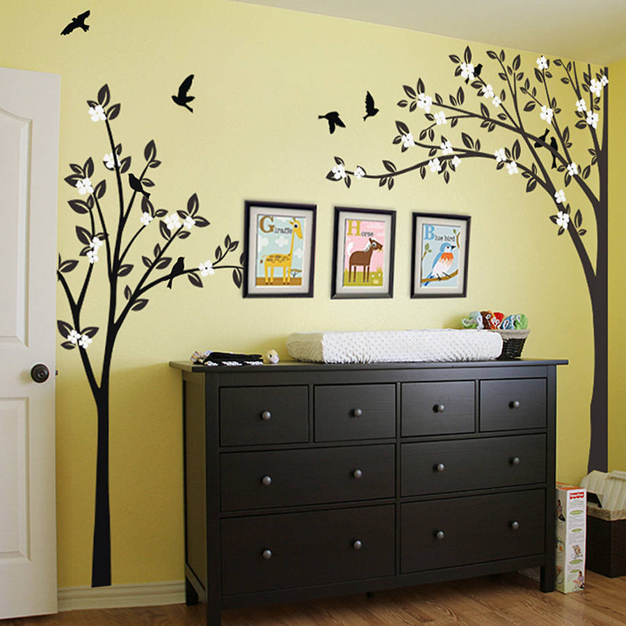trees with flying birds wall sticker by wall art ...