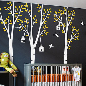 Three Trees With Birds And Birdhouse Sticker