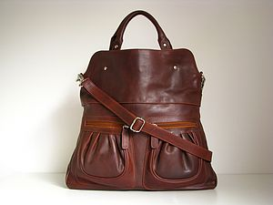 Brown Leather Handbag Tote With Pockets - cross body bags