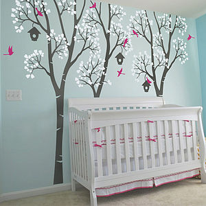 Three Trees With Birds And Birdhouses Decal - wall stickers