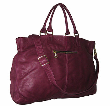 Lily Leather Tote Bag: Berry