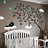 Swaying Tree With Sleeping Bear Sticker - home
