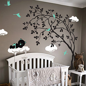 Swaying Tree With Sleeping Bear Sticker - wall stickers