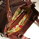Brown Leather Handbag Tote With Pockets