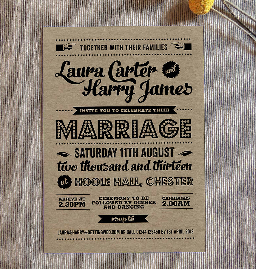 Retro vintage kraft wedding invitation by project pretty retro vintage kraft wedding invitation stopboris Images