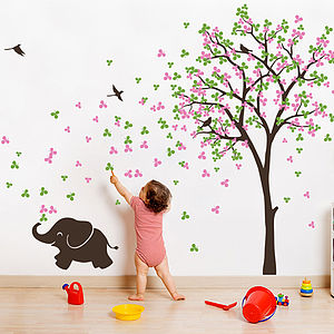 Tree With Birds And Baby Elephant Sticker - home decorating