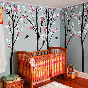 Five Trees With Birds Wall Sticker