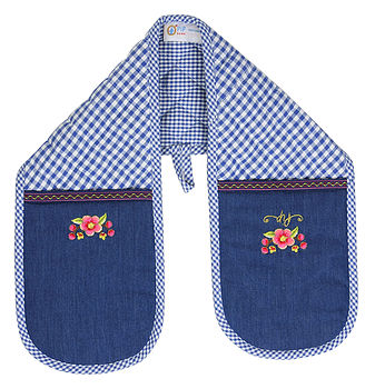 Double Oven Mitt Blue Check