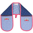 Double Oven Mitt Blue Check Pink Piping
