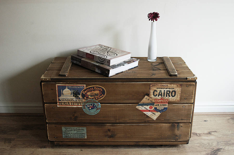 Awesome Personalised Storage Trunk Vintage Travel Blanket Chest