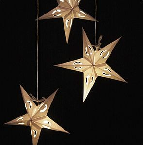 Origami Three Star Lights Cluster Mobile - lights & candles