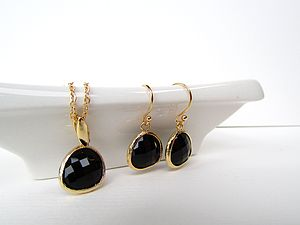 Gold And Black Gemstone Set - earrings