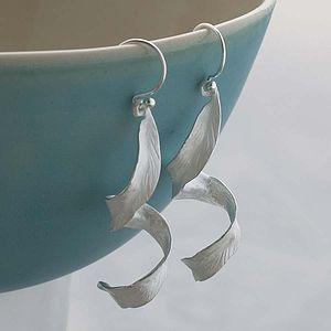 Spiral Silver Leaf Earrings - women's jewellery