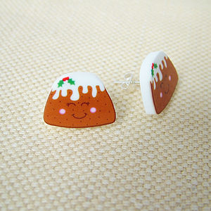 Christmas Pudding Acrylic Stud Earrings - earrings