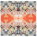 Hand Drawn Silk Satin Chiffon Fish Scarf