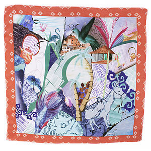 Hand Drawn Silk Satin Chiffon Donkey Scarf - new season scarves