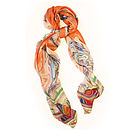 Hand Drawn Silk Satin Chiffon Flamingos Scarf