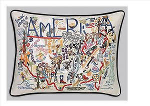 America Catstudio Hand Embroided Cushion