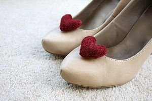 Knitted Heart Shoe Clips