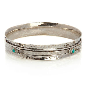 Flower Silver Spinning Bangle - bracelets & bangles