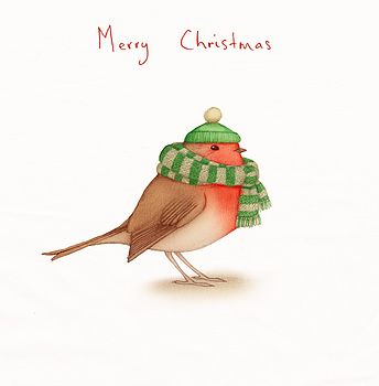 'Wrapped Up' Robin Christmas Card