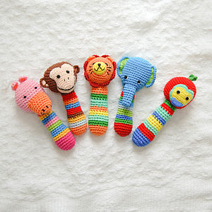 Handmade Animal Crochet Rattle - stocking fillers