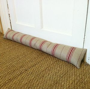 Red Ticking Draught Excluder - door stops & draught excluders
