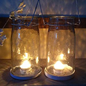 'Sparkly' Handmade Glass Lantern - outdoor decorations