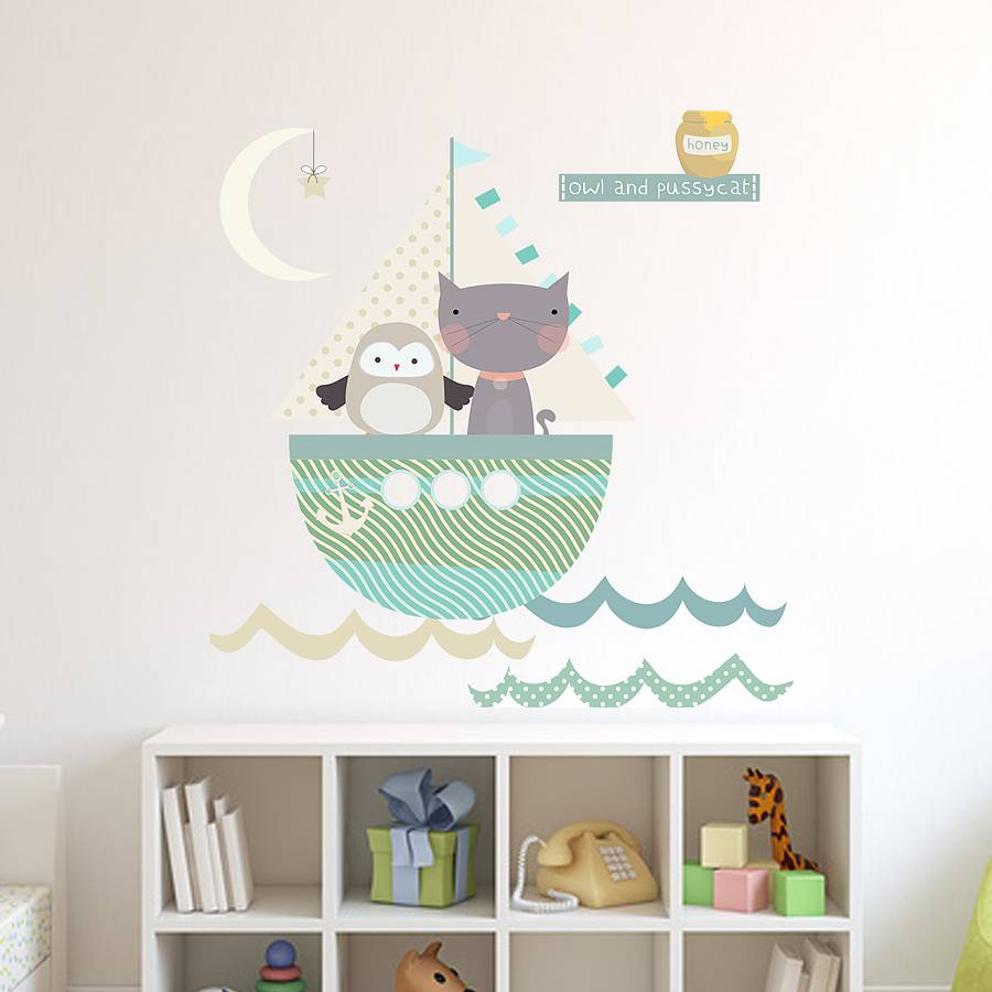 Owl And Pussycat Fabric Wall Stickers Part 58