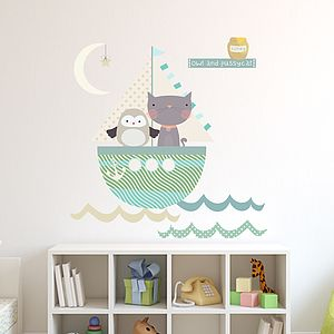 Owl And Pussycat Fabric Wall Stickers - wall stickers